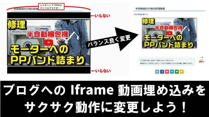 Youtube動画をブログに埋め込むiframeは重たい|アフィンガー5で動作軽くサイズもモバイルレスポンシブかつPCはサイズ指定して設置する方法